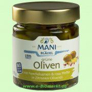 Grüne Oliven mit Fenchel, rosa Pfeffer, in Zitronen-Olivenöl (Mani)