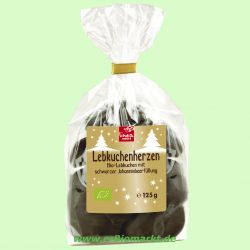Lebkuchenherzen Zartbitter gefüllt, Johannisbeere (linea natura)