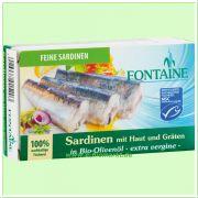 Sardinen, mit Haut und Gräten, in Bio-Olivenöl (Fontaine)