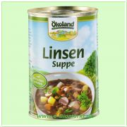 Linsensuppe, mit Würstchenscheiben (Ökoland)