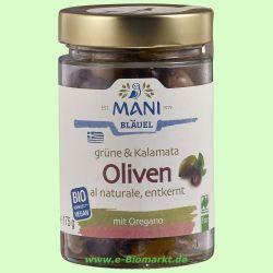 Grüne & Kalamata Oliven, Olivenmix al Naturale, entkernt RAW (Ma