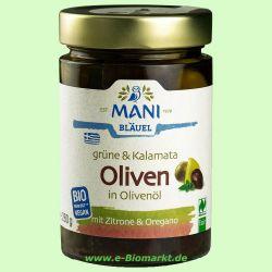Grüne & Kalamata Oliven, in Olivenöl mit Kräutern RAW (Mani - Bl