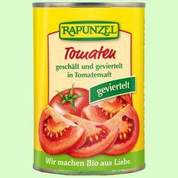 Tomaten geschält und geviertelt in der Dose (Rapunzel)
