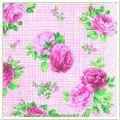 Serviette Motiv Gingham Roses rose (Venceremos)